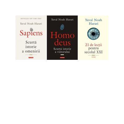 Pachet 3 carti Yuval Noah Harari - 1. Sapiens. Scurta istorie a omenirii; 2. Homo deus. Scurta istorie a viitorului; 3. 21 de lectii pentru secolul XXI
