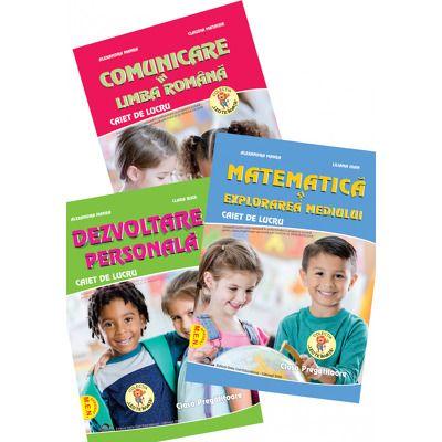 Set de 3 caiete pentru clasa pregatitoare. Comunicare in Limba Romana, Dezvoltare personala, Matematica si explorarea mediului, Editia 2021 - Manea, Alexandra