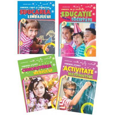 Set de 4 caiete pentru gradinita, nivel 5-6 ani. Domeniul, limba si comunicare, om si societate, stiinte. Delta Cart, editia 2021 - Manea Alexandra